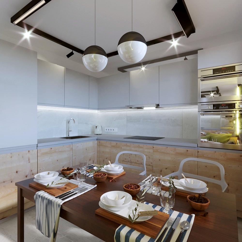 Дизайн интерьера кухни-столовой в квартире по ул.Фогеля