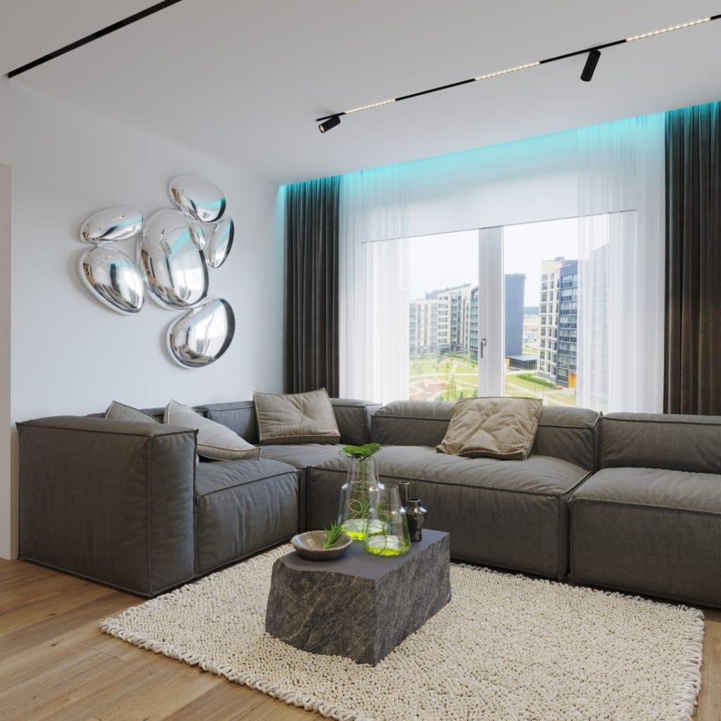 дизайн интерьера гостиной, вид на диван