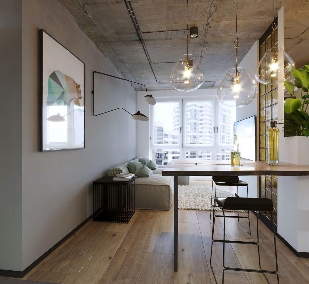 дизайн интерьера кухни-столовой в стиле лофт