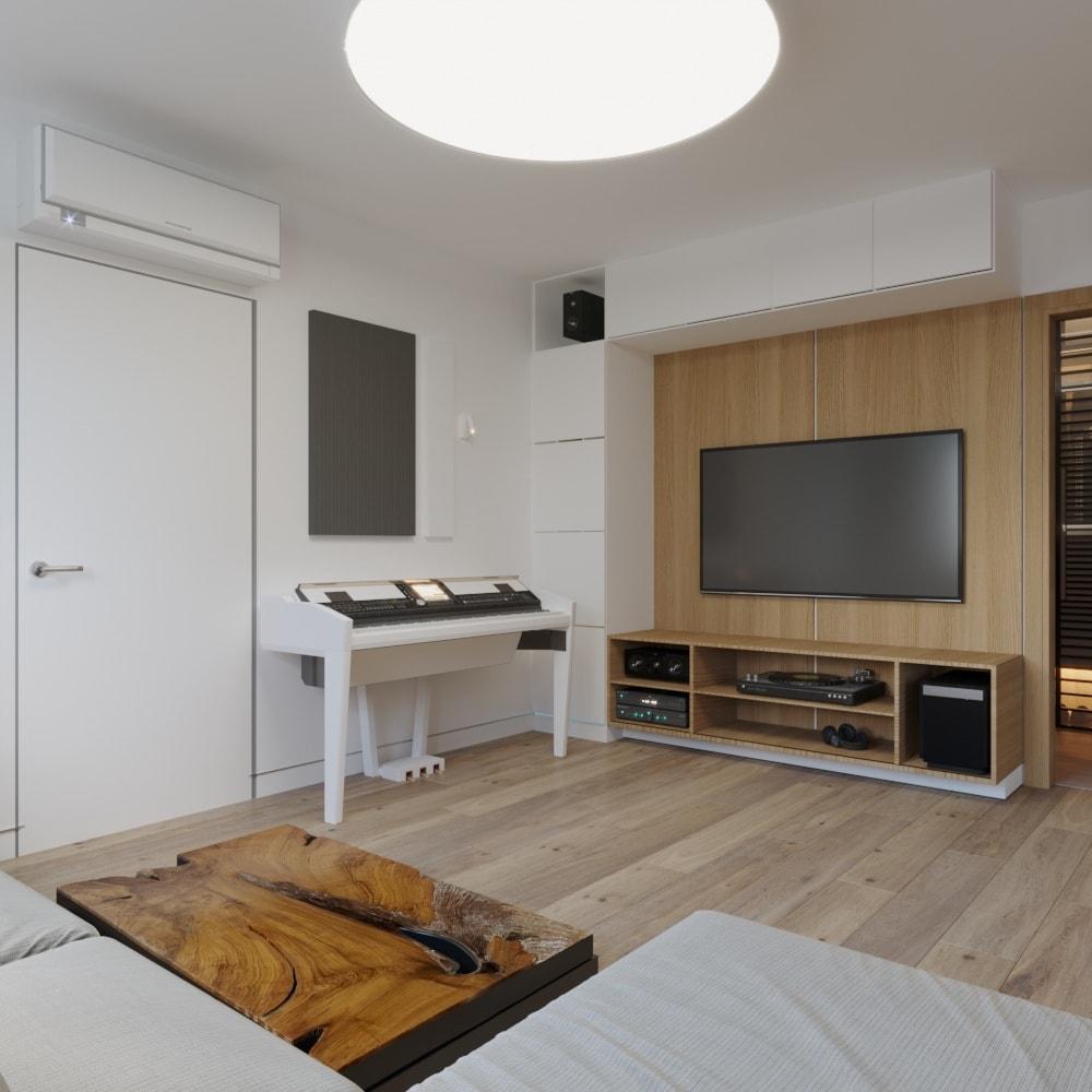 дизайн интерьера гостиной с телевизором и пианино