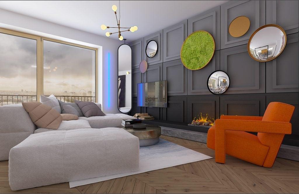 Квартира-студия в Лондоне, гостиная