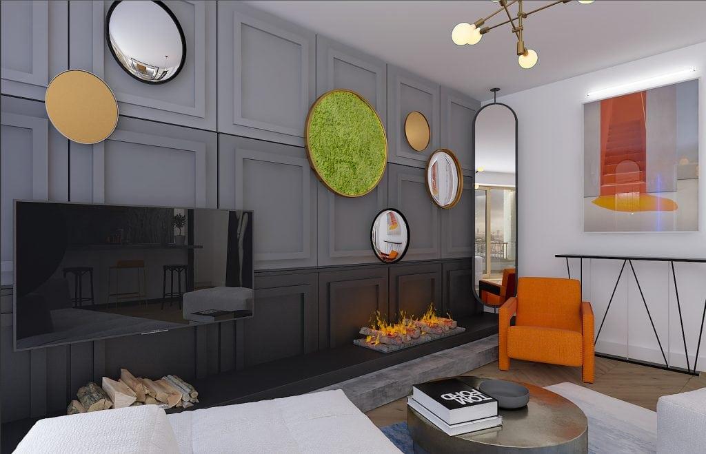Квартира-студия в Лондоне, общий вид на камин