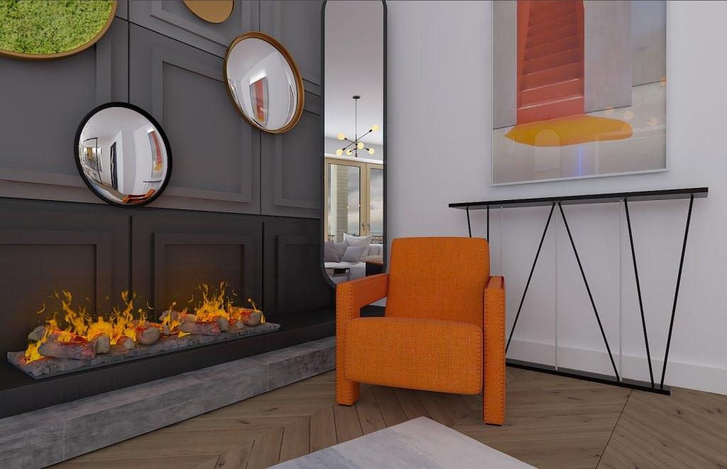 Квартира-студия в Лондоне, камин и кресло