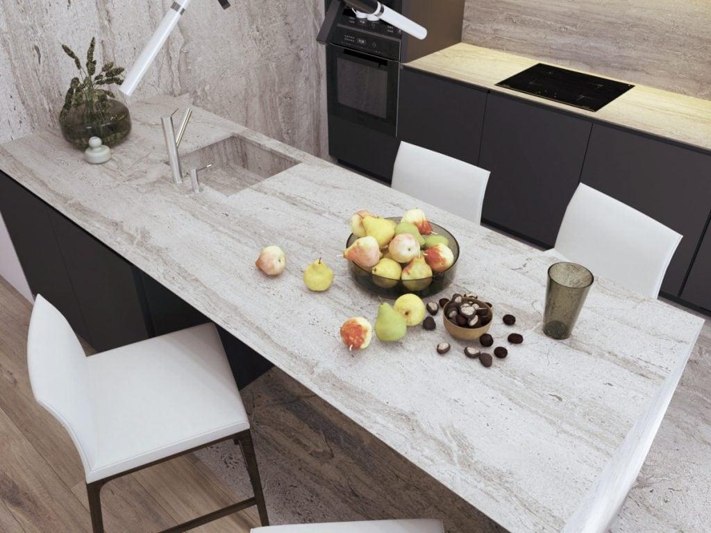 дизайн интерьера кухни, вид на рабочую поверхность