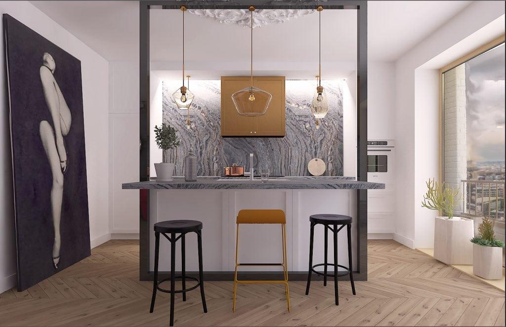 Квартира-студия в Лондоне, вид на барную стойку
