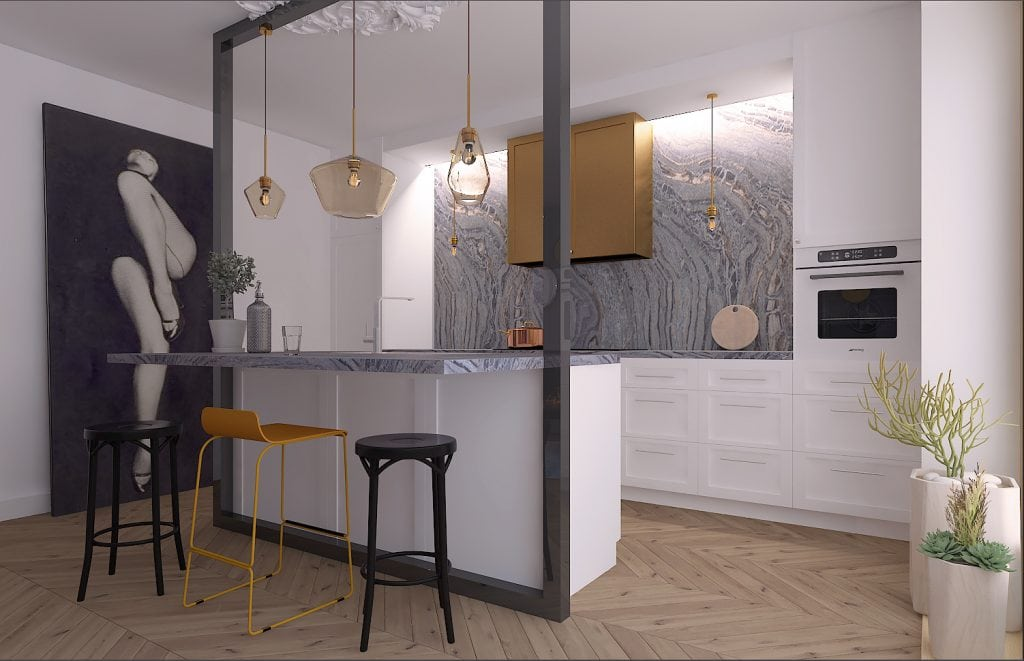 Квартира-студия в Лондоне, вид на кухню