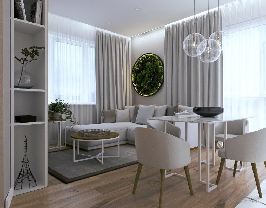 дизайн интерьера гостиной, вид на столовую зону