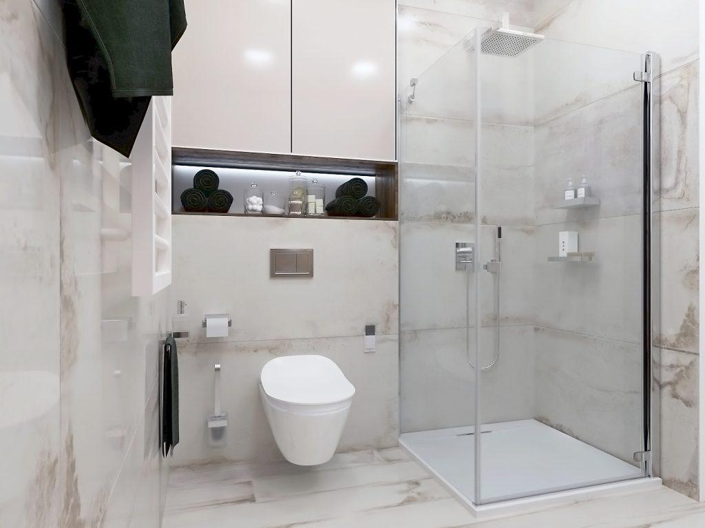 дизайн интерьера санузла в белом мраморе