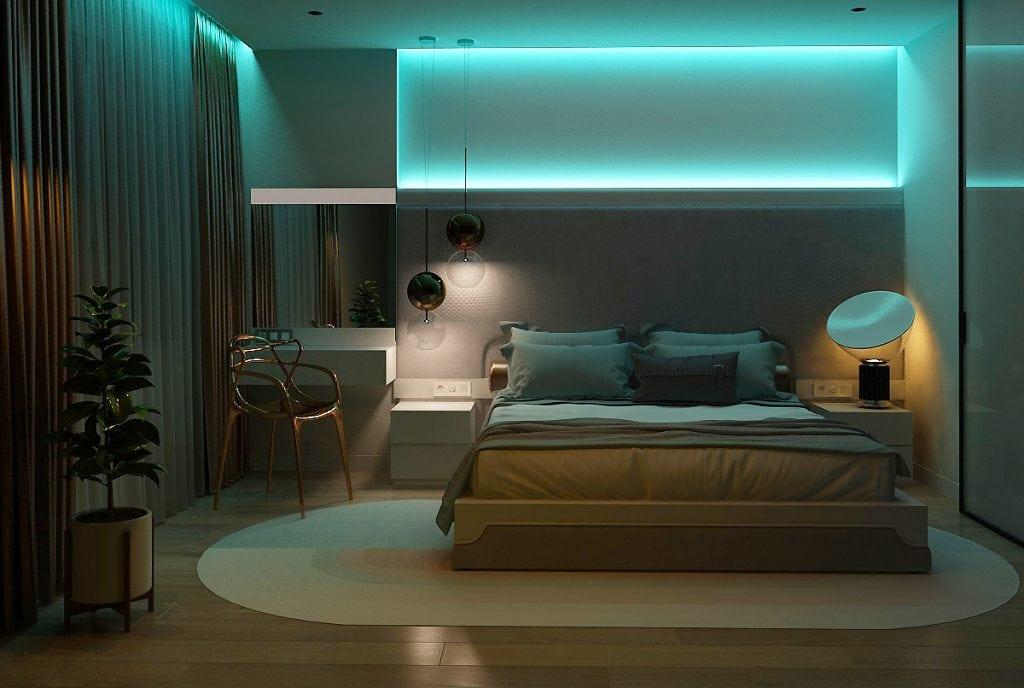 дизайн интерьера спальни с фоновой подсветкой