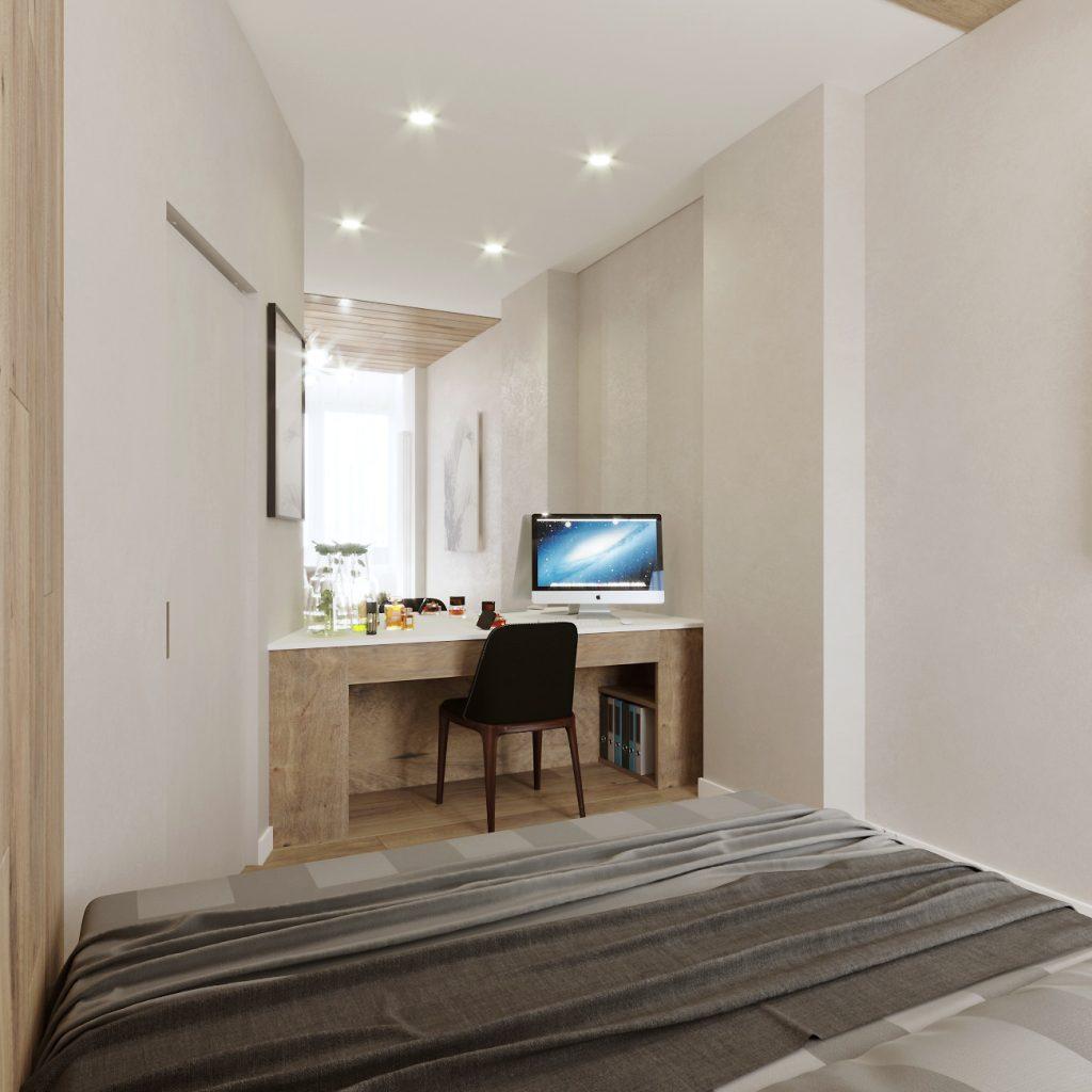 дизайн интерьера спальни, вид на рабочий стол
