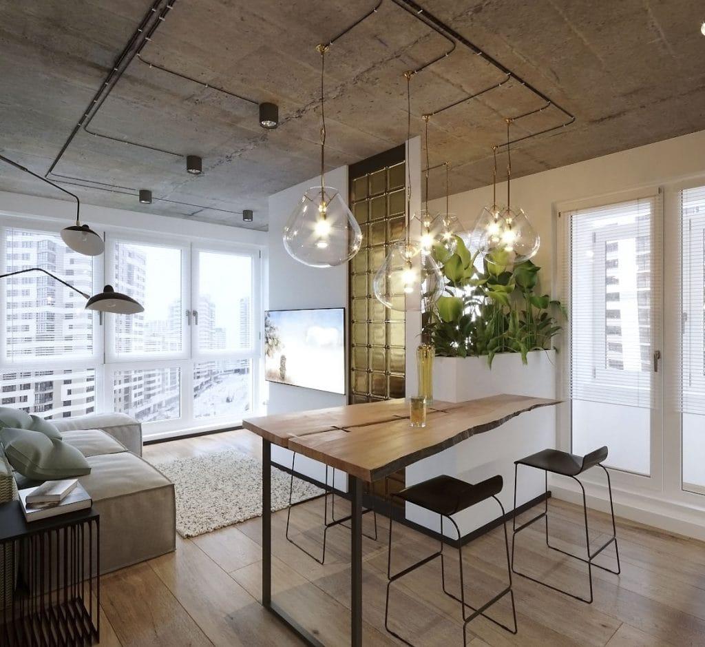 дизайн гостиной с переделкой однокомнатной квартиры в двухкомнатную