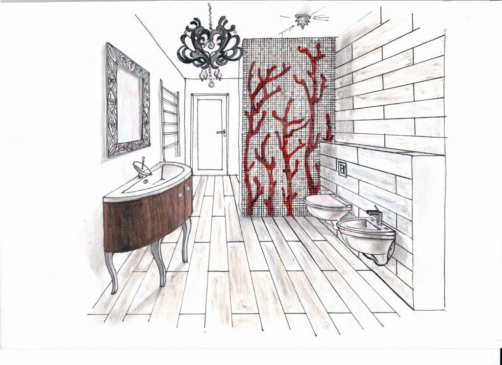 Эскиз от руки, ванная комната, мозаика