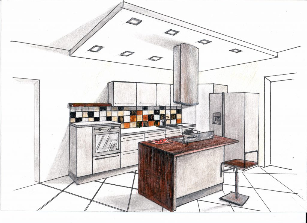 Эскиз от руки, кухня и остров