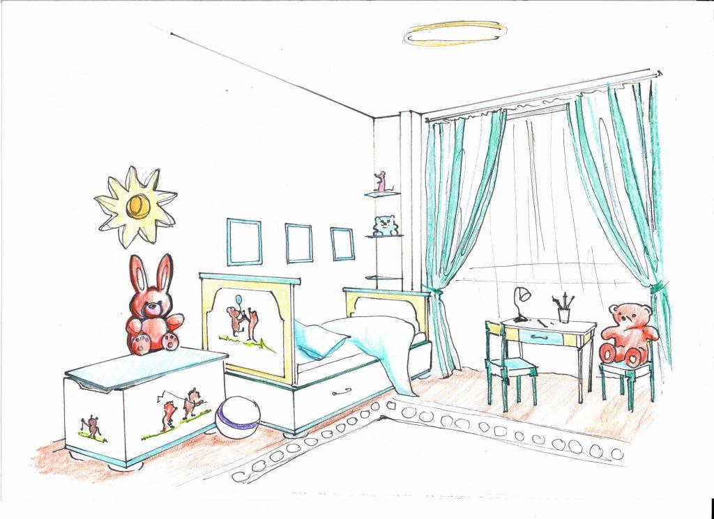 Эскиз от руки, детская комната