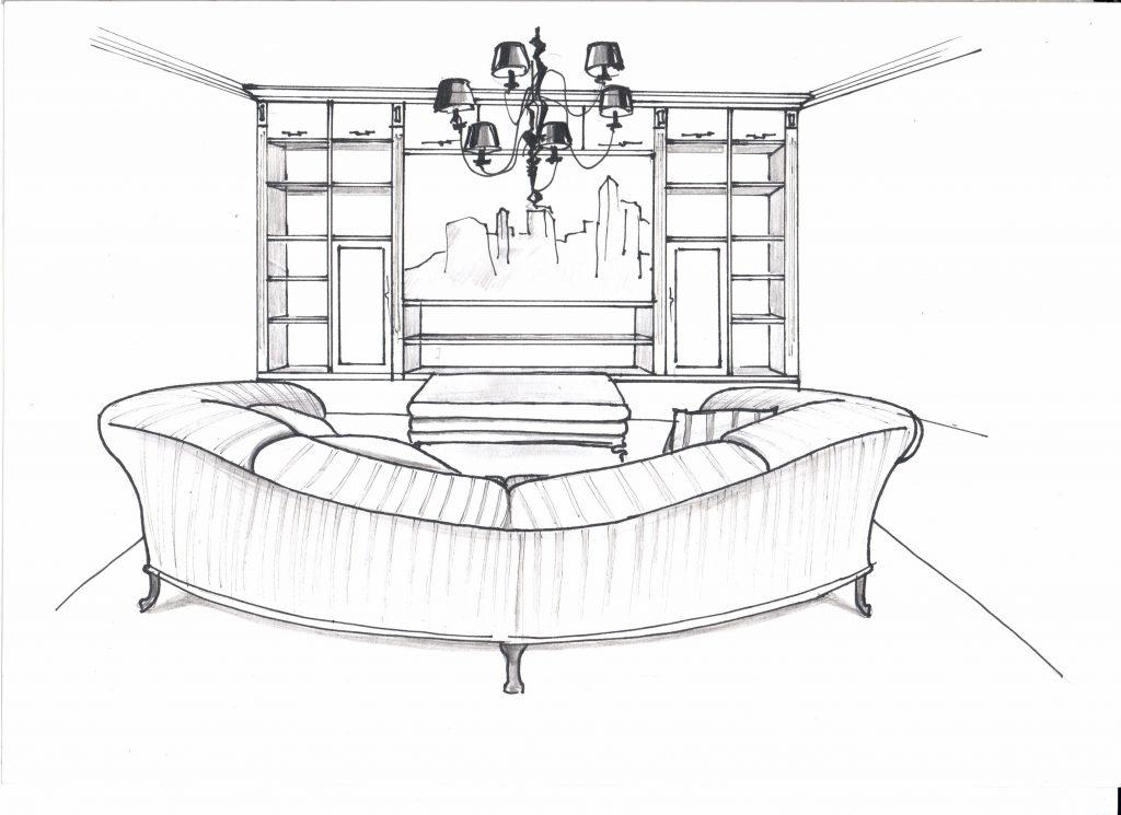 Эскиз от руки, гостиная, ТВ зона