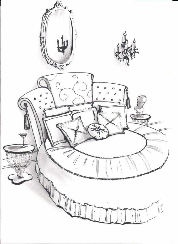 Эскиз от руки, круглая кровать в спальне
