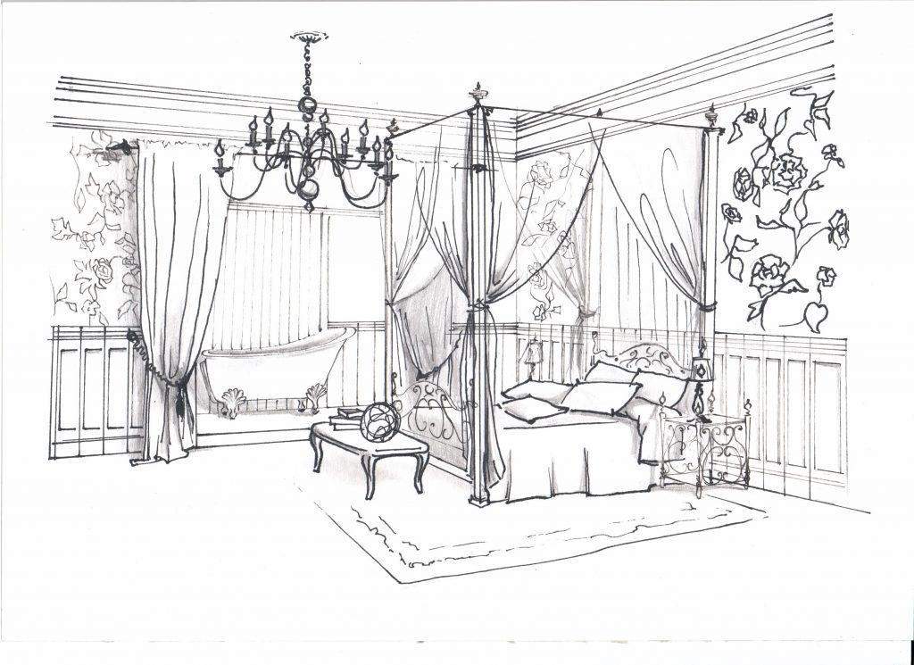 Эскиз от руки, спальня с балдахином