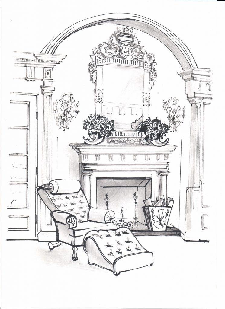 Эскиз от руки, гостиная, кресло и камин