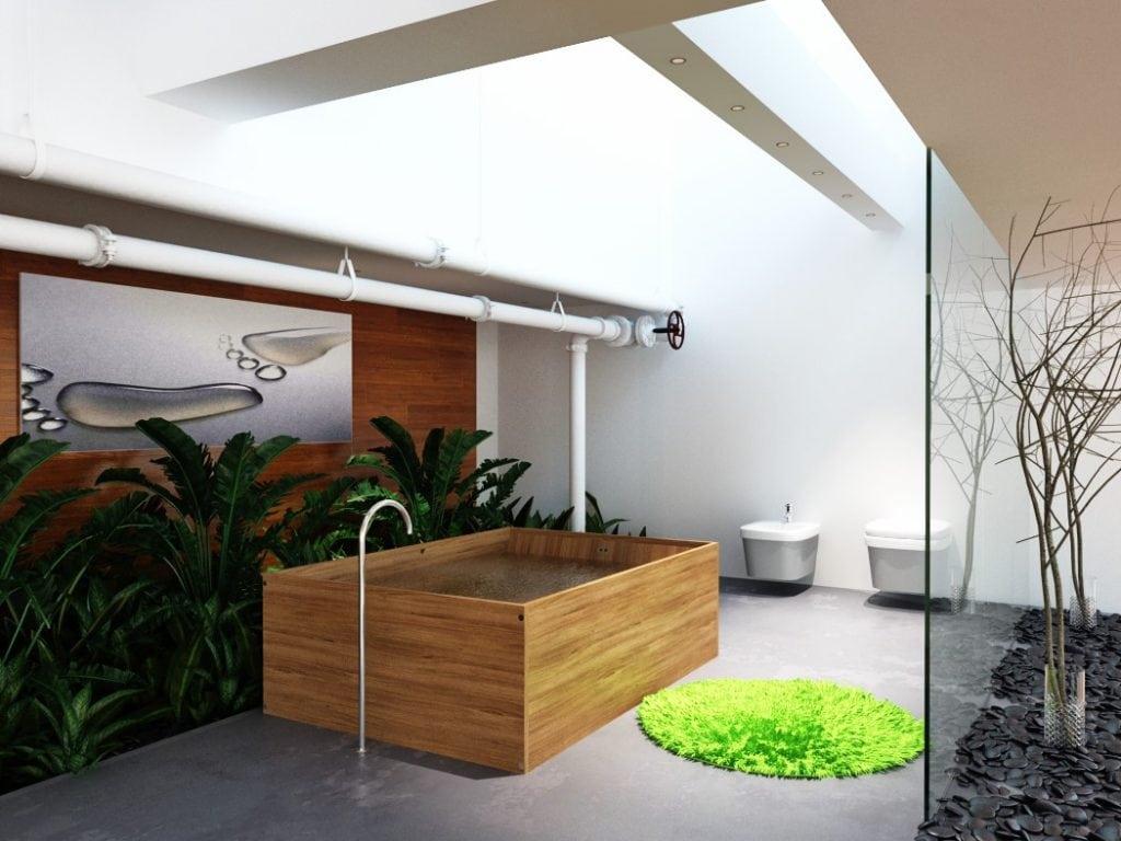 Ванная комната в мансардном этаже