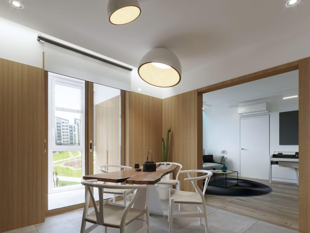 дизайн интерьера гостиной с деревянными панелями