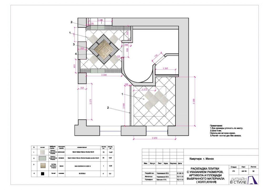 Раскладка плитки с указанием размеров, артикула и площади выбранного материала (Холл, кухня)