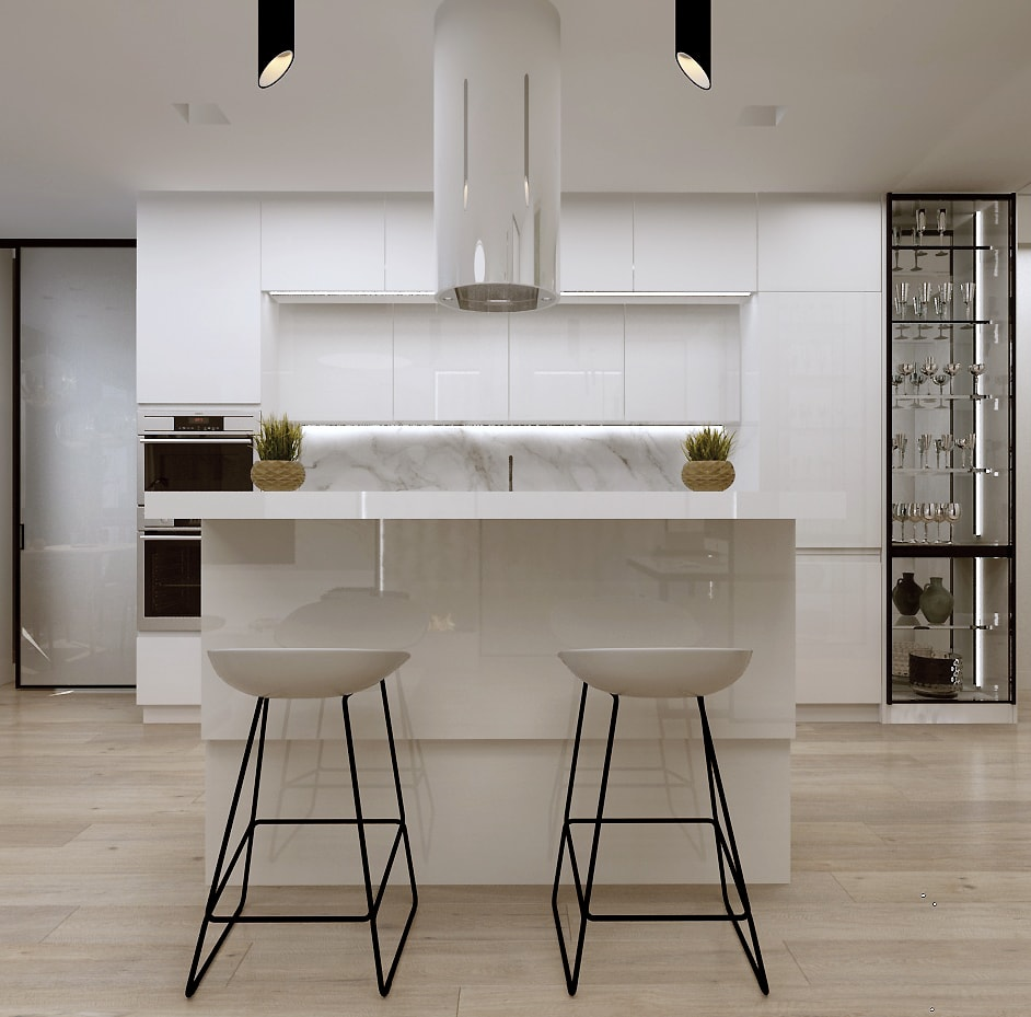 дизайн интерьера гостиной, вид на кухню остров