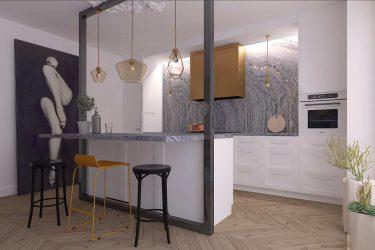 Дизайн интерьера кухни в студии в Лондоне